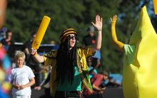 Fans celebrate at the opening ceremony for the Cricket World Cup in Christchurch.