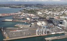 The two sides of the Bledisloe Terminal (foreground) will be built 98 metres further into the harbour, with the port later hoping to reclaim the space between them.