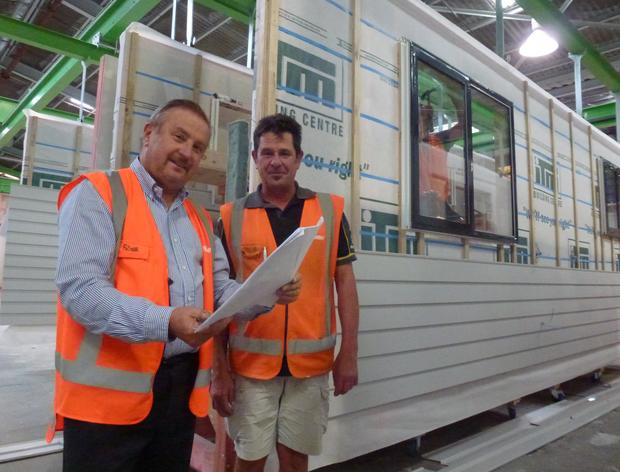 eHome managing director Marsh Hudson and Steve Jujnovich at the Kumeu assembly line last year.