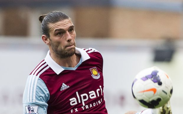 Andy Carroll in action in the Premier League for West Ham