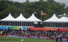 The crowd at New Zealand versus Sri Lanka at the Cricket World Cup at Christchurch's Hagley Oval.
