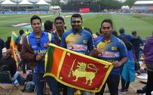 Sri Lankan supporters at the NZ vs Sri Lanka match at the Cricket World Cup at the Hagley Oval in Christchurch.