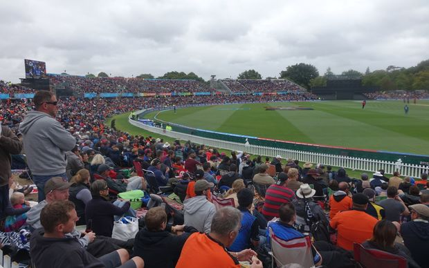 The crowd at the Hagley Oval in Christchurch during the opening Cricket World Cup match, New Zealand versus Sri Lanka.