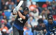 Corey Anderson batting during the ICC Cricket World Cup match between New Zealand and Sri Lanka at Hagley Oval in Christchurch, New Zealand. Saturday 14 February 2015.