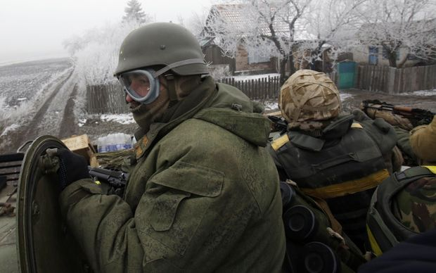 A convoy of Ukrainian forces drives to Debaltseve, Donetsk region.