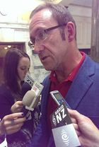 Andrew Little talking to reporters about SkyCity at Parliament.