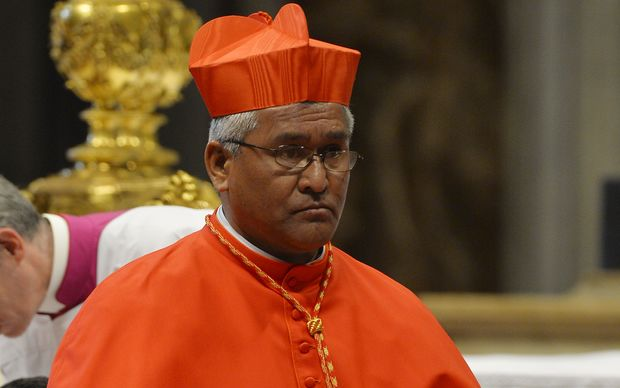 Soane Patita Paini Mafi, bishop of Tonga, is elevated to the rank of Cardinal by Pope Francis during a consistory, on February 14, 2015 at St. Peter's basilica in Vatican.