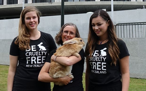 From left, owner of Crumpet the Rabbit Greta-Mae McDowell, Green Party MP Mojo Mathers and #BeCrueltyFree campaigner Tara Jackson.