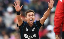 The New Zealand bowler Trent Boult appeals successfully for a LBW decision.