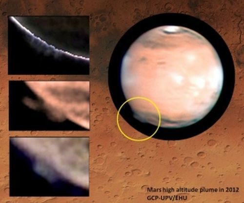 The strange plume was first spotted in March 2012 above Mars' southern hemisphere.