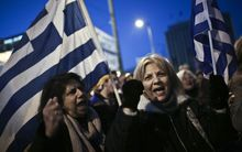 Thousands of anti-austerity demonstrators people rallied in front of the Greek Parliament in Athens on Monday ahead of bailout talks in Brussels.
