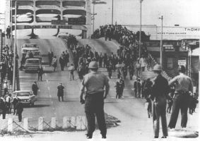 Police turn around marchers on Tuesday, March 9, 1965.