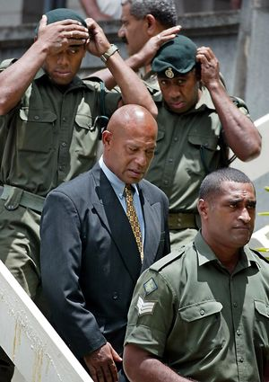 Fiji coup leader George Speight (C) leaving the High Court in Suva after being sentenced to death for high treason for his role in the overthrow of former prime minister Mahendra Chaudhry's Government on 19 May 2000.