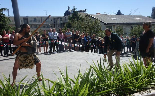 The Pakistan team manager Naveed Cheema accepted the rautapu (symbol of peace) laid down by a wero (warrior) and the team were welcomed to the Christchurch City Council office for an official pōwhiri. 18 Feb 2015