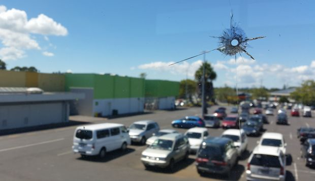 One of the BB gunshots through the first floor window of the Mangere Town Centre office. February 2015