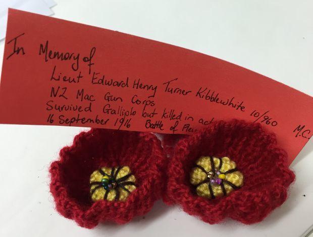 Handcrafted poppies in memory of Lieutenant Edward Kibblewhite.