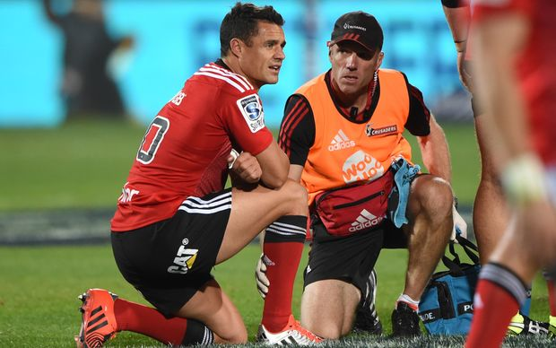 Daniel Carter was injured in the Super Rugby season opener against the Rebels