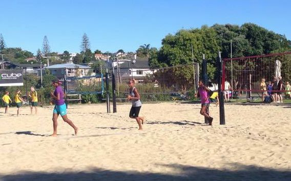 The Vanuatu team trains before the NZ Beach Volleyball Open in Auckland.