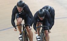 The New Zealand men's sprint team, Sam Webster, Ethan Mitchell and Edward Dawkins.