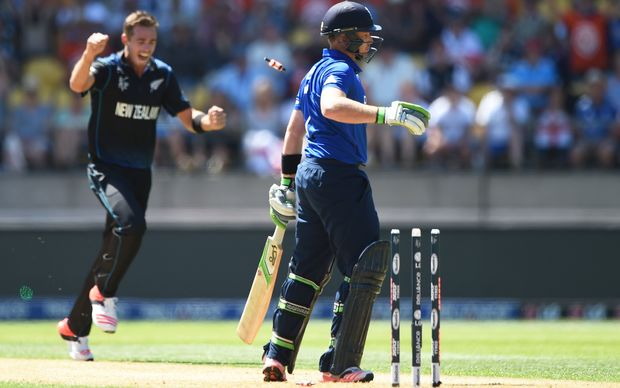 Ian Bell is bowled by Tim Southee during the ICC Cricket World Cup match between New Zealand and England in Wellington.