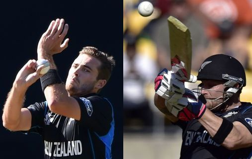 The Black Caps' Tim Southee, left, and Brendon McCullum in action against England.