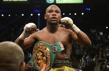 Floyd Mayweather, Jr. celebrates after winning the WBC welterweight title bout in Las Vegas.