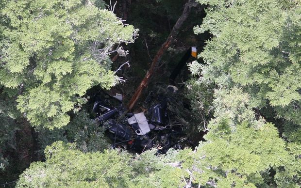 Wreckage of the Robinson 44 helicopter that crashed on Thursday in a valley near Queenstown.
