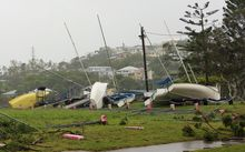 Washed away boats sit on the ground after Tropical Cyclone Marcia hit the coastal town of Yeppoon in north Queensland.