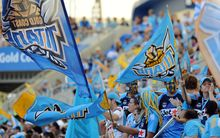 Gold Coast Titans fans. NRL Rugby League, Skilled Park, Gold Coast. Sunday 8 May 2011.