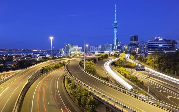 Sky Tower and Southern Motorway viewed from Hopetoun Street, Auckland.