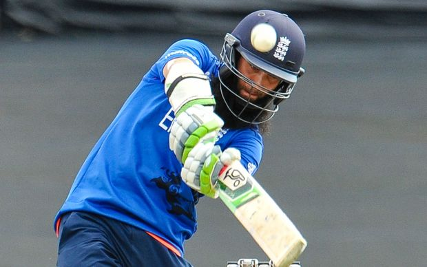Moeen Ali of England during the ICC Cricket World Cup match batting against Scotland.