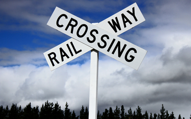 Railway crossing sign in Palmerston North.