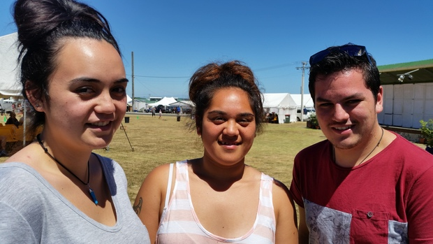 Georgie Peke (far left) with other young people at this year's Ratana Church celebrations.