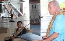 Outgoing Fiji Airways CEO Stefan Pichler with Fiji's Attorney-General Aiyaz Sayed Khiayum.