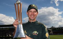 Ricky Ponting with the Chappell Hadlee Trophy