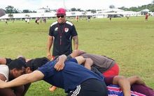 Former Manu Samoa captain Mahonri Schwalger taking a scrum session at the Rugby Academy of Samoa.