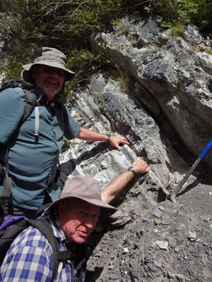 Chris Hollis, left, and Percy Strong from GNS Science are holding on to the K-T boundary layer.