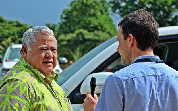 RNZI reporter Johnny Blades interviewing Samoa's Prime Minister Tuilaepa Sailele Malielegaoi