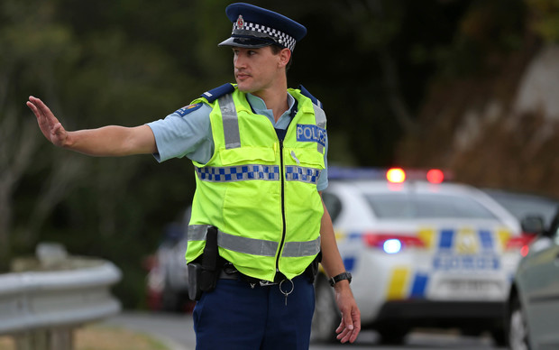 Police directing traffic.