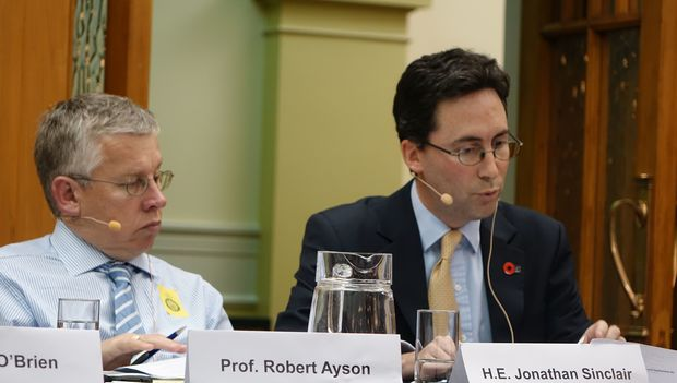 Robert Ayson (left) and Jonathan Sinclair during a panel discussion at parliament. Wellington 25 February 2015