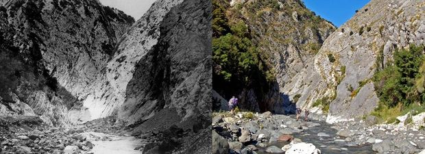 The image on the left was taken in 1885 by geologist and photographer Alexander McKay (who made his own lenses by grinding down bottle ends). James Crampton returned to the same spot in 2008.