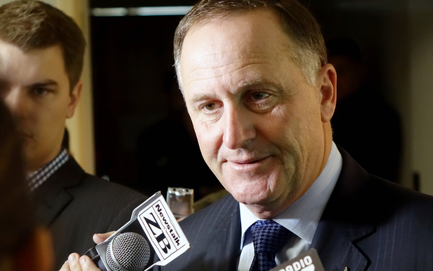 John Key speaking to media in Auckland.
