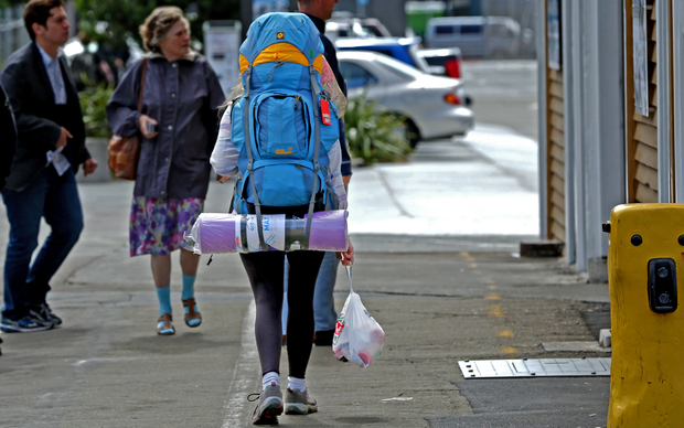 Backpacker in Wellington.