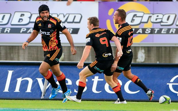 The Chiefs celebrate a try in the win over the Brumbies