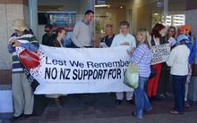 Anti-war protest in Wellington on 26 February 2015.