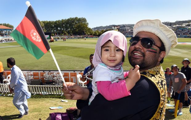 Afghanistan cricket fans in Dunedin, where their team won its debut World Cup match.