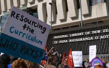 Protesters outside the National Library in Wellington on Thursday.