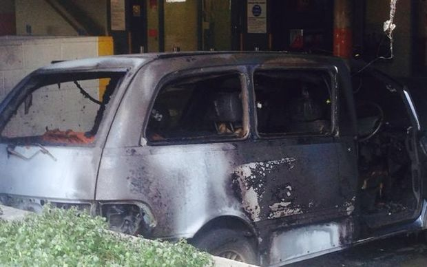 The van caught fire in a carpark in the complex.