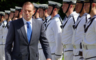 Tony Abbott is officially welcomed at Government House in Auckland.