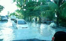 Damaging waves flooded Kiribati's Betio in South Tarawa.